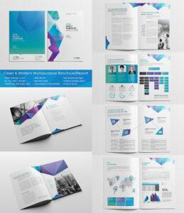 Clean Modern Multipurpose Brochurereport | Доклад | Indesign in Adobe Indesign Brochure Templates