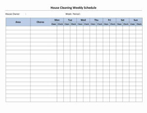 Cleaning Schedule Template | House Cleaning Schedule in Cleaning Report Template