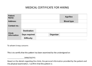 Climb Health: Sample Medical Certificate For Hiking – Pinoy inside Fit To Fly Certificate Template