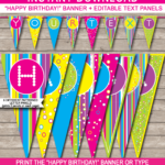 Colorful Banner Template | Happy Birthday | Banner Template throughout Free Happy Birthday Banner Templates Download