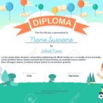 Colorful Kids Summer Camp Diploma Certificate Template In Cartoon.. Inside Summer Camp Certificate Template