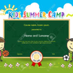 Colorful Kids Summer Camp Diploma Certificate Template In Cartoon.. Within Summer Camp Certificate Template