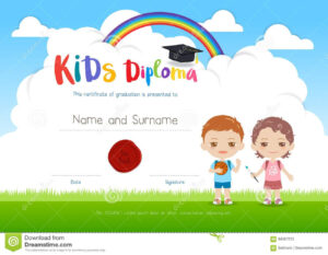 Colorful Kids Summer Camp Diploma Certificate Template In throughout Summer Camp Certificate Template