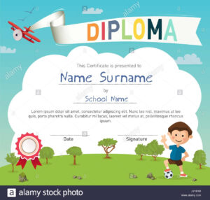 Colorful Kids Summer Camp Diploma Certificate Template Stock intended for Summer Camp Certificate Template