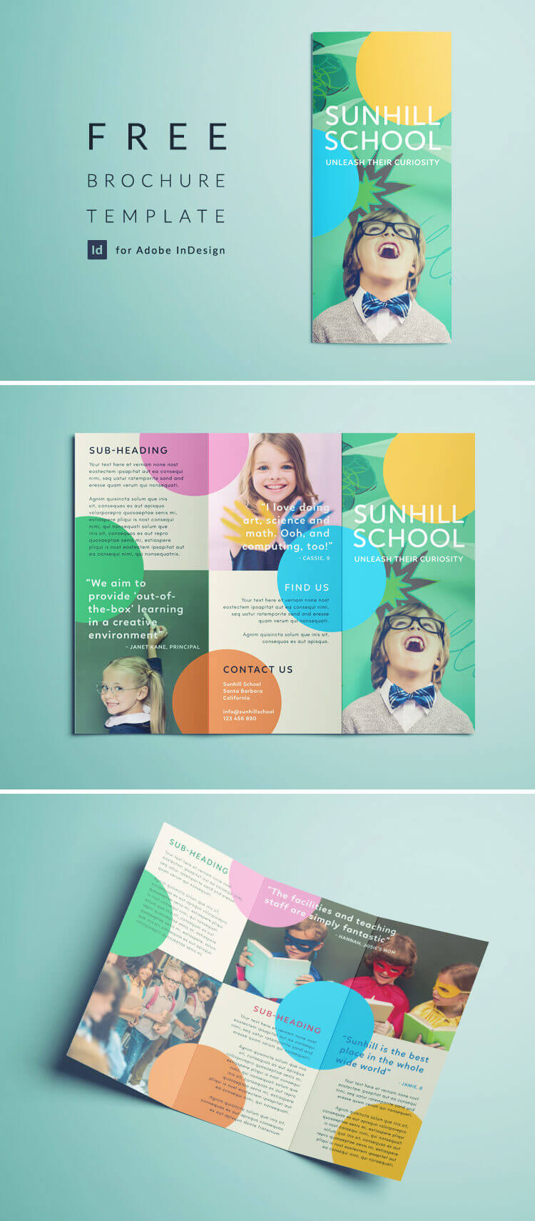 Colorful School Brochure - Tri Fold Template | Download Free for Tri Fold School Brochure Template