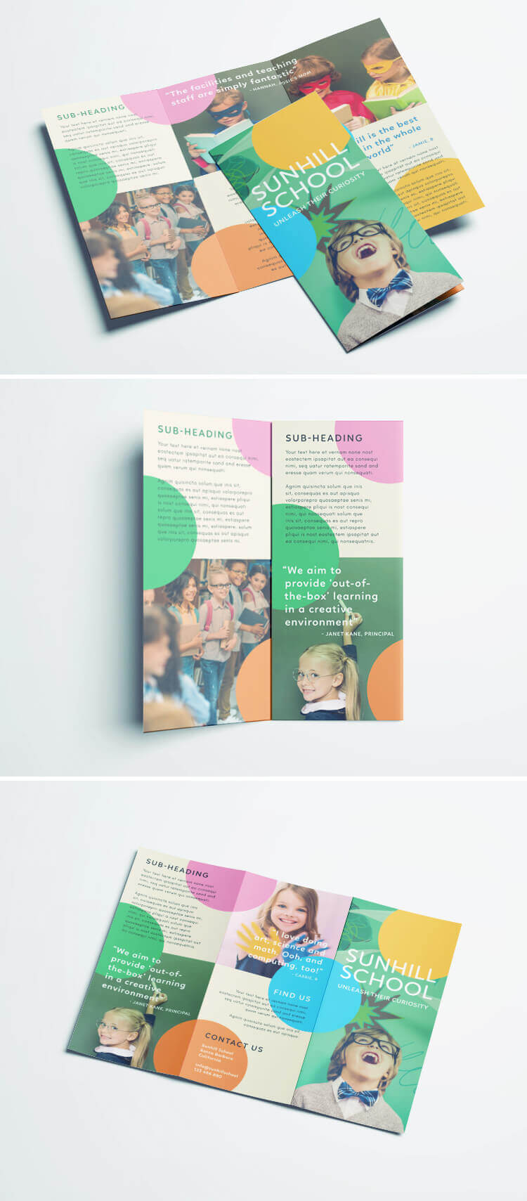 Colorful School Brochure - Tri Fold Template | Download Free Throughout School Brochure Design Templates
