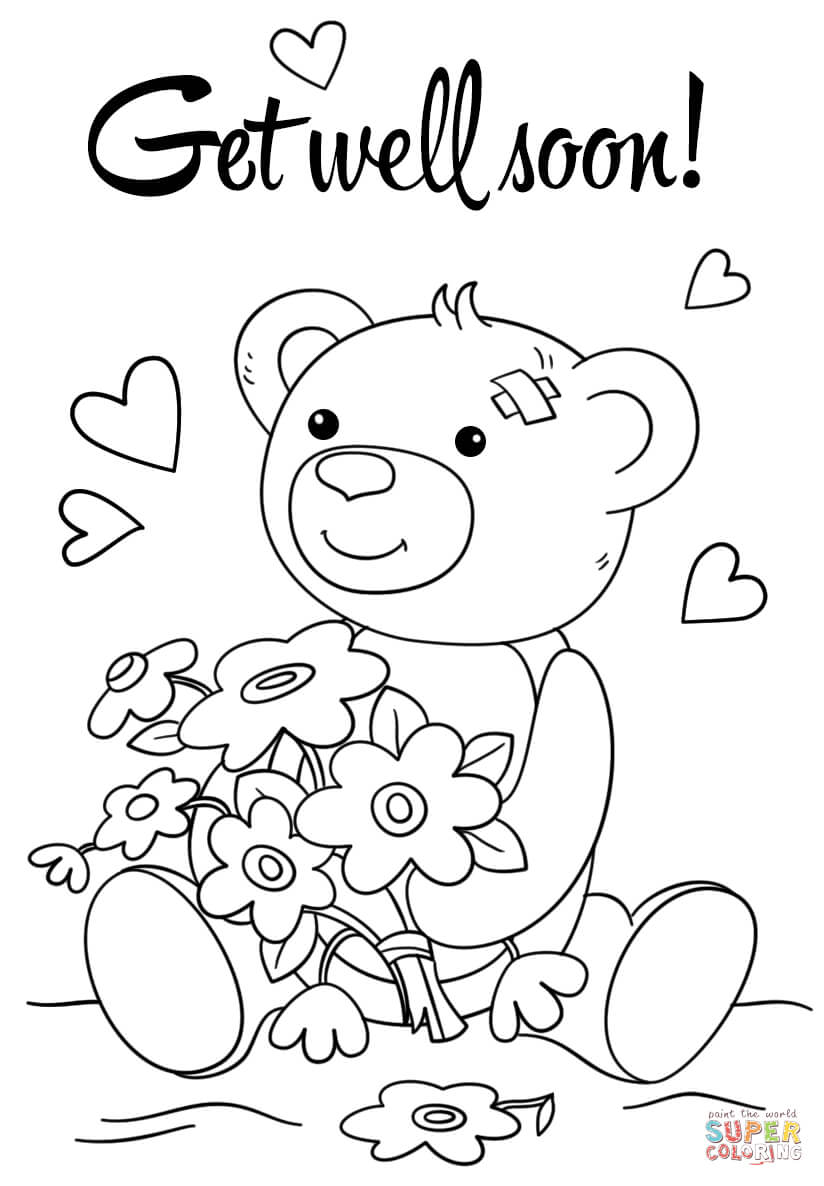 Coloring Pages : Cute Get Well Soon Coloring Page Freentable Pertaining To Get Well Soon Card Template