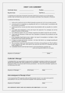 Company Credit Card Agreement | Crealup – Form Information With Regard To Corporate Credit Card Agreement Template