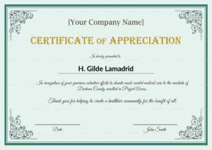 Company Employee Appreciation Certificate Template with regard to Certificates Of Appreciation Template