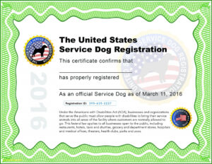 Complete Emotional Support Animal Id Card Template – Www.szf.se throughout Service Dog Certificate Template