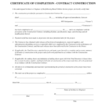Completion Certificate Sample Construction – Fill Online With Certificate Of Completion Construction Templates