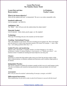 Complex Madeline Hunter Lesson Plan Explanation Madeline intended for Madeline Hunter Lesson Plan Template Word