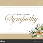 Condolences Sympathy Card Floral Lily Bouquet And Lettering In Sympathy Card Template