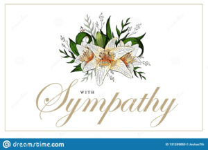 Condolences Sympathy Card Floral Lily Bouquet And Lettering throughout Sympathy Card Template