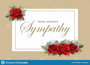 Condolences Sympathy Card Floral Red Roses Bouquet And for Sympathy Card Template