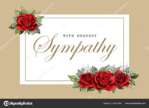 Condolences Sympathy Card Floral Red Roses Bouquet And with regard to Sorry For Your Loss Card Template