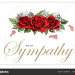 Condolences Sympathy Card Floral Red Roses Bouquet And With Regard To Sympathy Card Template