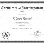 Conference Participation Certificate Template regarding Conference Participation Certificate Template