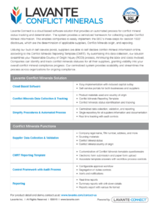 Conflict Minerals Product Overview – Lavante inside Conflict Minerals Reporting Template