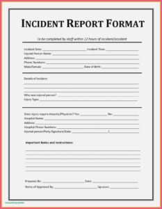 Construction Accident Report Form Template Best Ohs Incident with Ohs Incident Report Template Free