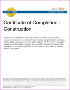 Construction Completion Certificate Template with Certificate Of Completion Construction Templates