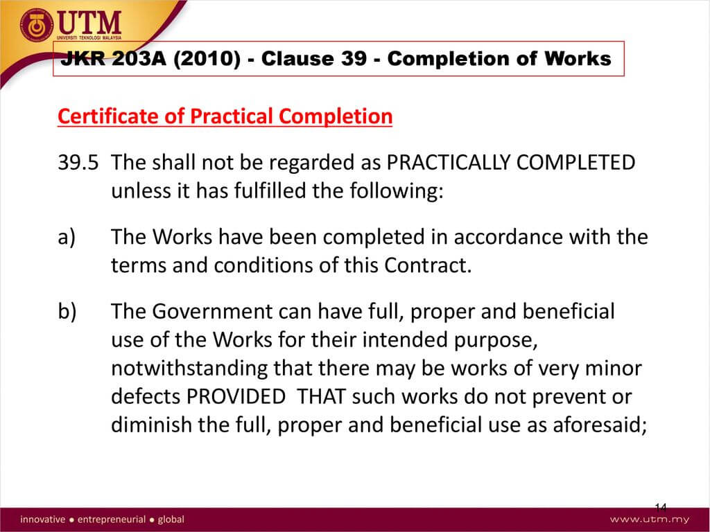 Construction Law And Contract I - Ppt Download In Practical Completion Certificate Template Jct
