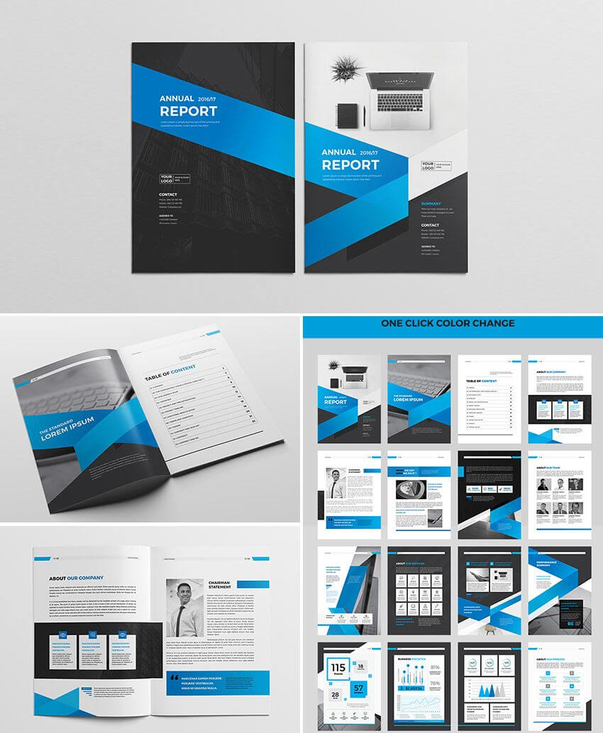 Cool Indesign Annual Corporate Report Template | Report In Free Indesign Report Templates