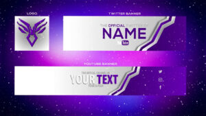 Cool Purple Youtube Banner Template | Banner + Twitter Header And Logo (Psd) with regard to Twitter Banner Template Psd