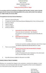 Copy Of Final Agenda 2016 Agm | Parklands Golf Club with Treasurer's Report Agm Template