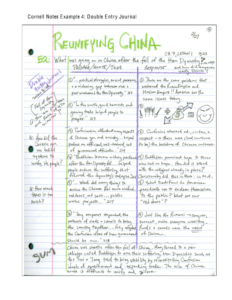 Cornell Notes Example 4: Double Entry Journal for Double Entry Journal Template For Word