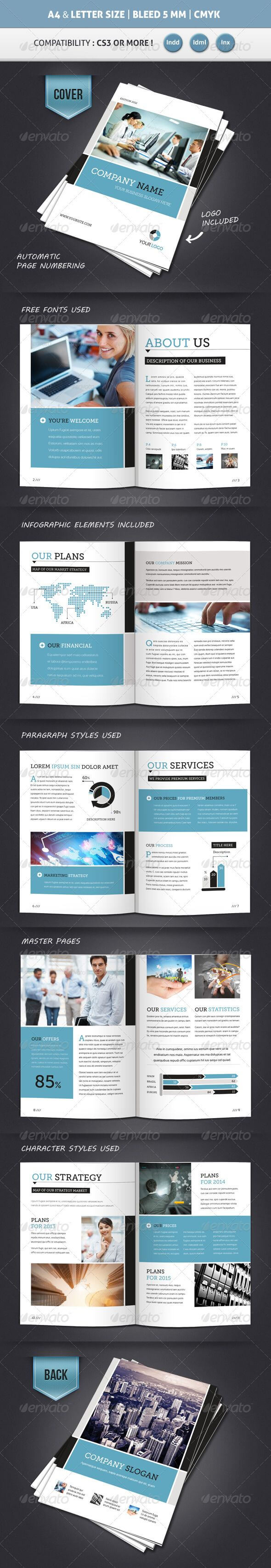 Corporate Brochure Template A4 & Letter 12 Pages within 12 Page Brochure Template