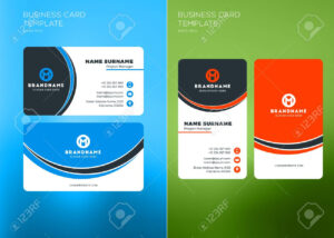 Corporate Business Card Print Template. Vertical And Horizontal.. inside Buisness Card Templates