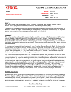 Corporate Functional Guide Template for Company Credit Card Policy Template