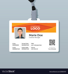Corporate Id Card Template With Modern Abstract throughout Work Id Card Template