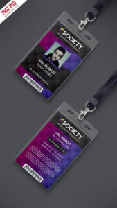 Corporate Office Id Card Psd Template | Psdfreebies with Faculty Id Card Template