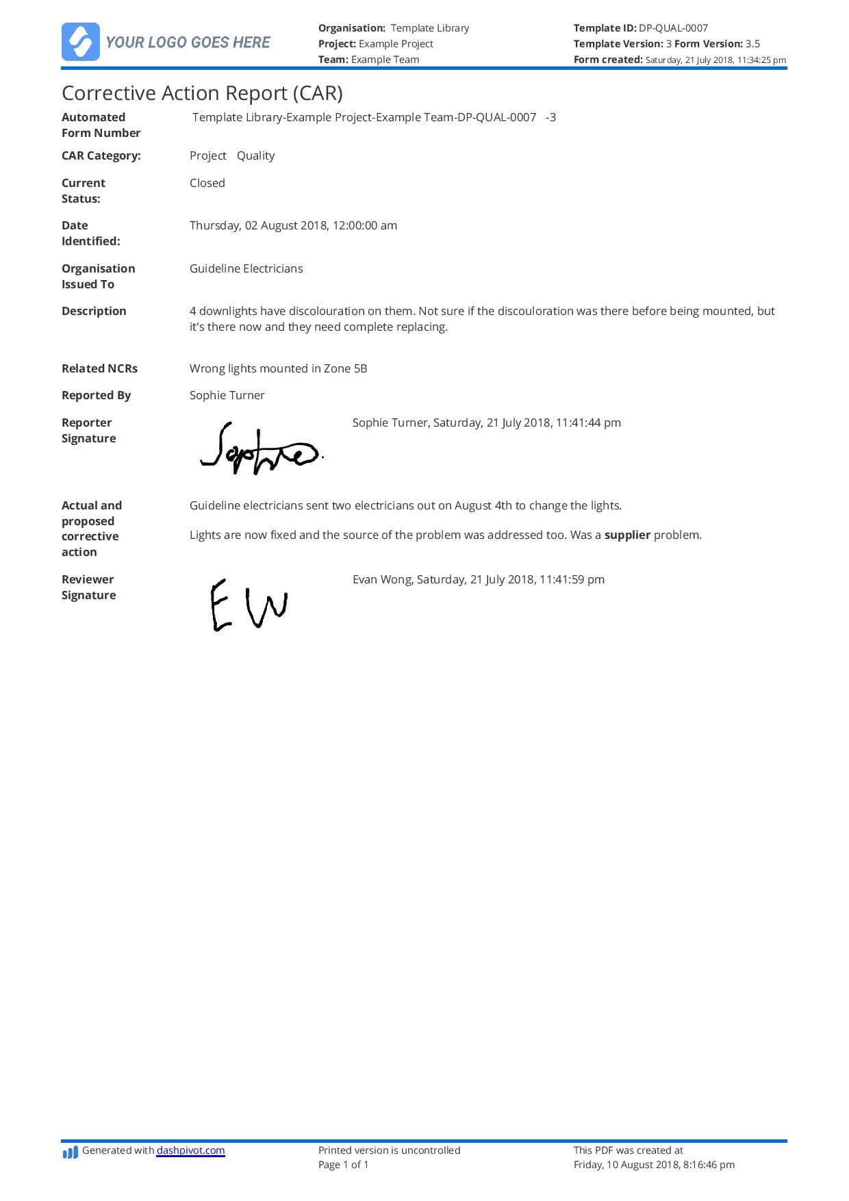 Corrective Action Report Template (Car) - Better Than Word Intended For Corrective Action Report Template