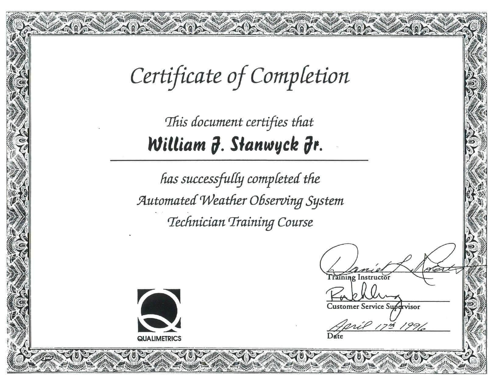Course Completion Certificate Sample New Free Course Pletion Throughout Training Certificate Template Word Format
