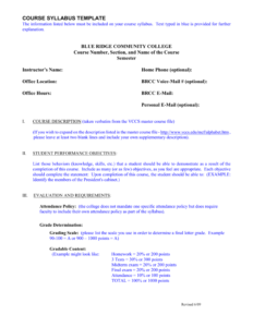 Course Syllabus Template – Blue Ridge Community College for Blank Syllabus Template