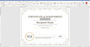 Create A Certificate Of Recognition In Microsoft Word throughout Running Certificates Templates Free