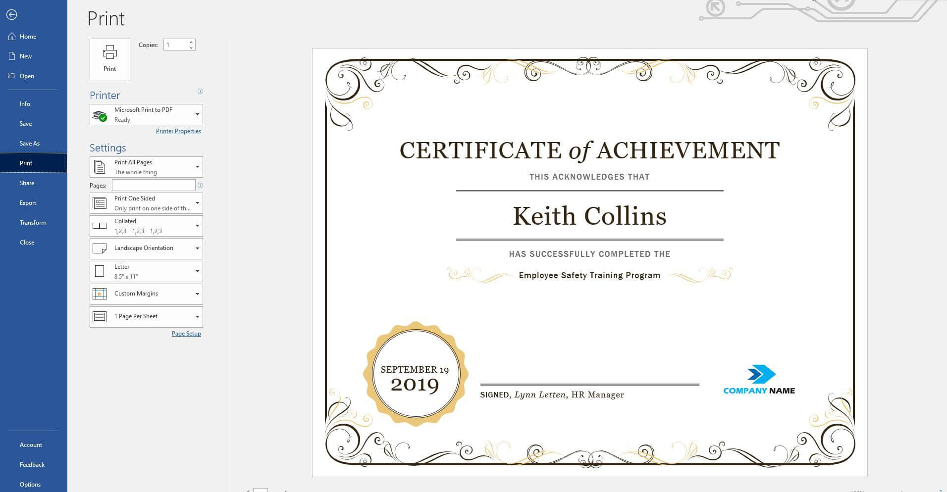 Create A Certificate Of Recognition In Microsoft Word With Officer Promotion Certificate Template