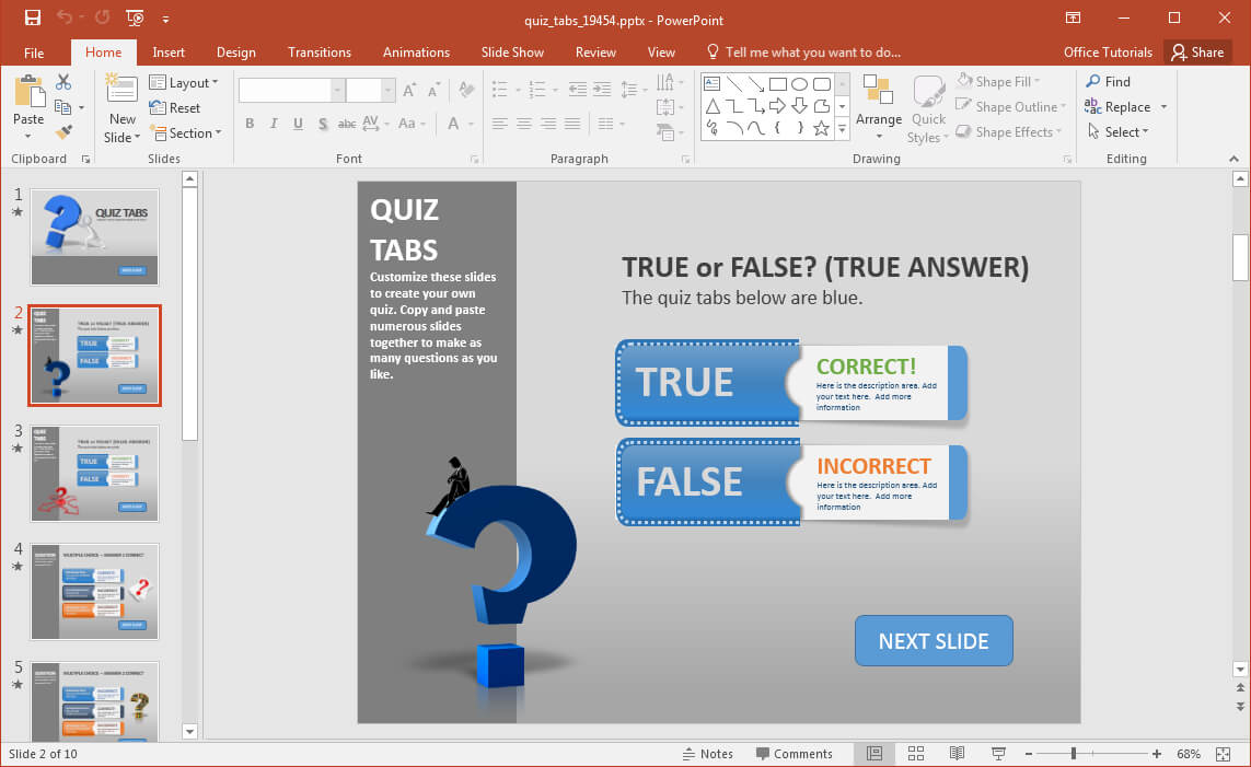Create A Quiz In Powerpoint With Quiz Tabs Powerpoint Template Within Quiz Show Template Powerpoint