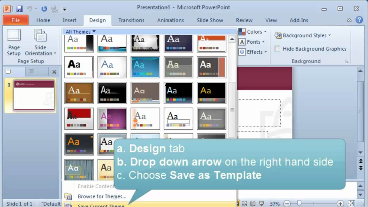 Creating And Setting A Default Template Or Theme In Powerpoint With Powerpoint Default Template