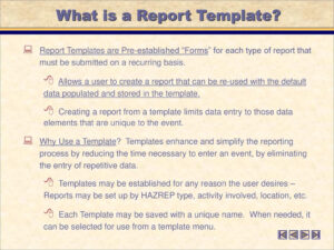 Creating And Using Hazrep Templates – Ppt Download with regard to What Is A Report Template