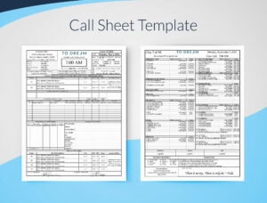 Creating Professional Call Sheets – Free Template Download intended for Blank Call Sheet Template