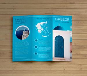 Creative Blue Greece Travel Trifold Brochure Idea inside Island Brochure Template