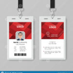 Creative Id Card Template With Abstract Red Background Stock Within Conference Id Card Template