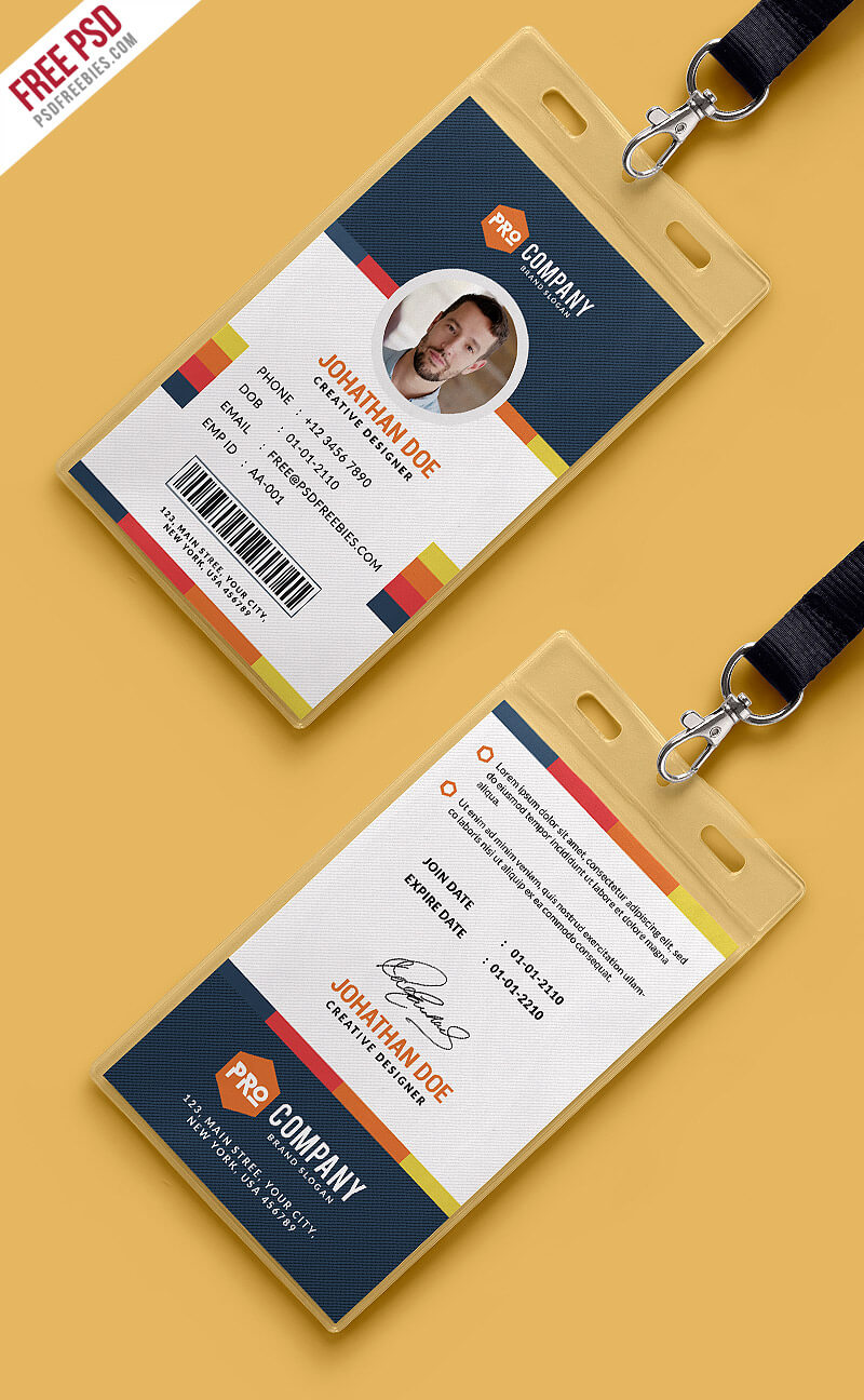 Creative Office Identity Card Template Psd | Psdfreebies Pertaining To Id Card Design Template Psd Free Download