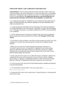 Credit Agreement Employee – Fill Online, Printable, Fillable for Company Credit Card Policy Template