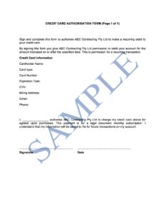 Credit Card Authorisation Form – Free Template | Sample for Credit Card Authorisation Form Template Australia