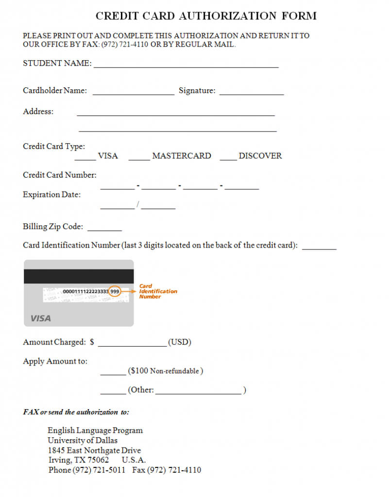 Credit Card Authorization Form Template | Credit Card Within Order Form With Credit Card Template